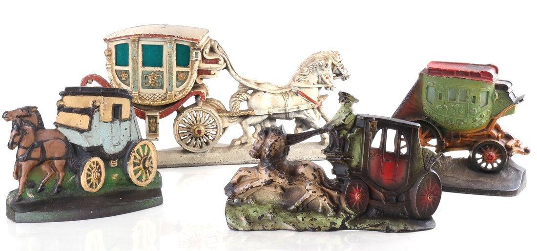 Four Painted Cast Iron Coaches