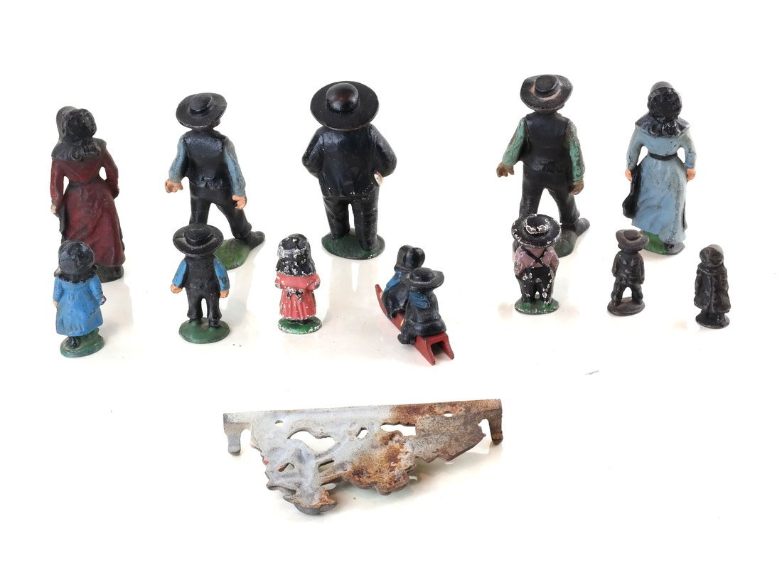 Fifteen Painted Cast Iron Amish Figures - 2