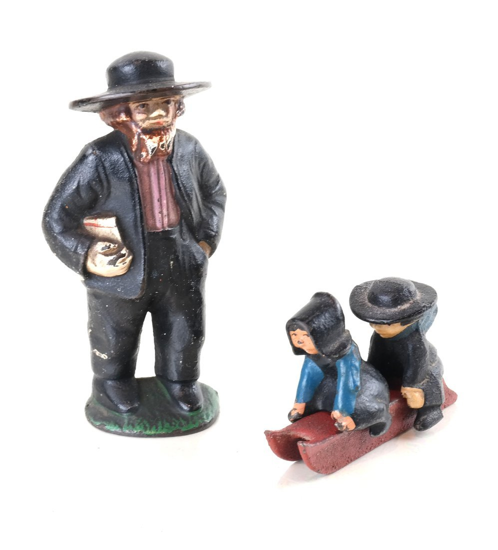 Fifteen Painted Cast Iron Amish Figures - 4