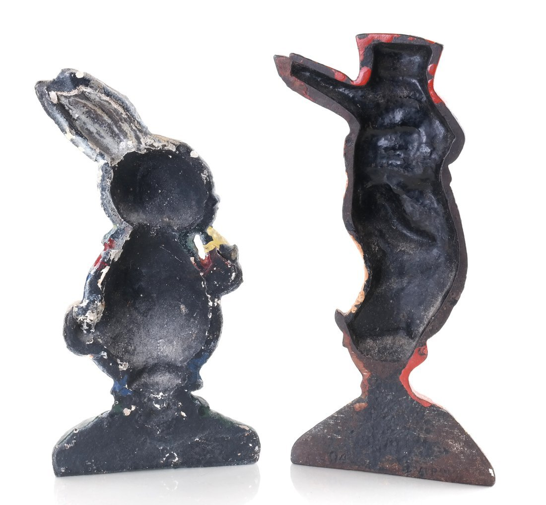 Two Painted Cast Iron Rabbit Doorstops - 2