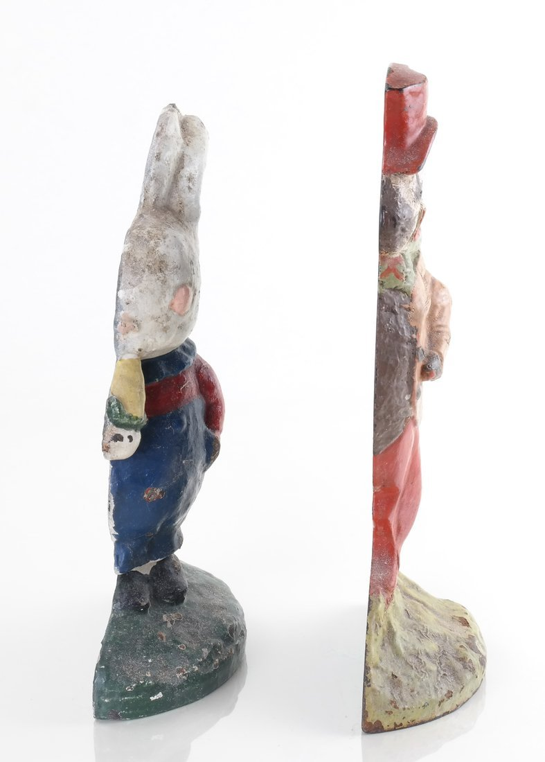 Two Painted Cast Iron Rabbit Doorstops - 3