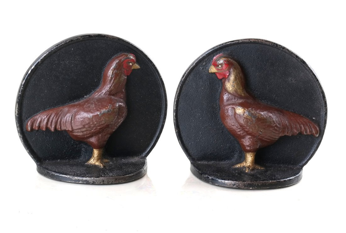 Four Painted Cast Iron Chicken Figures - 10