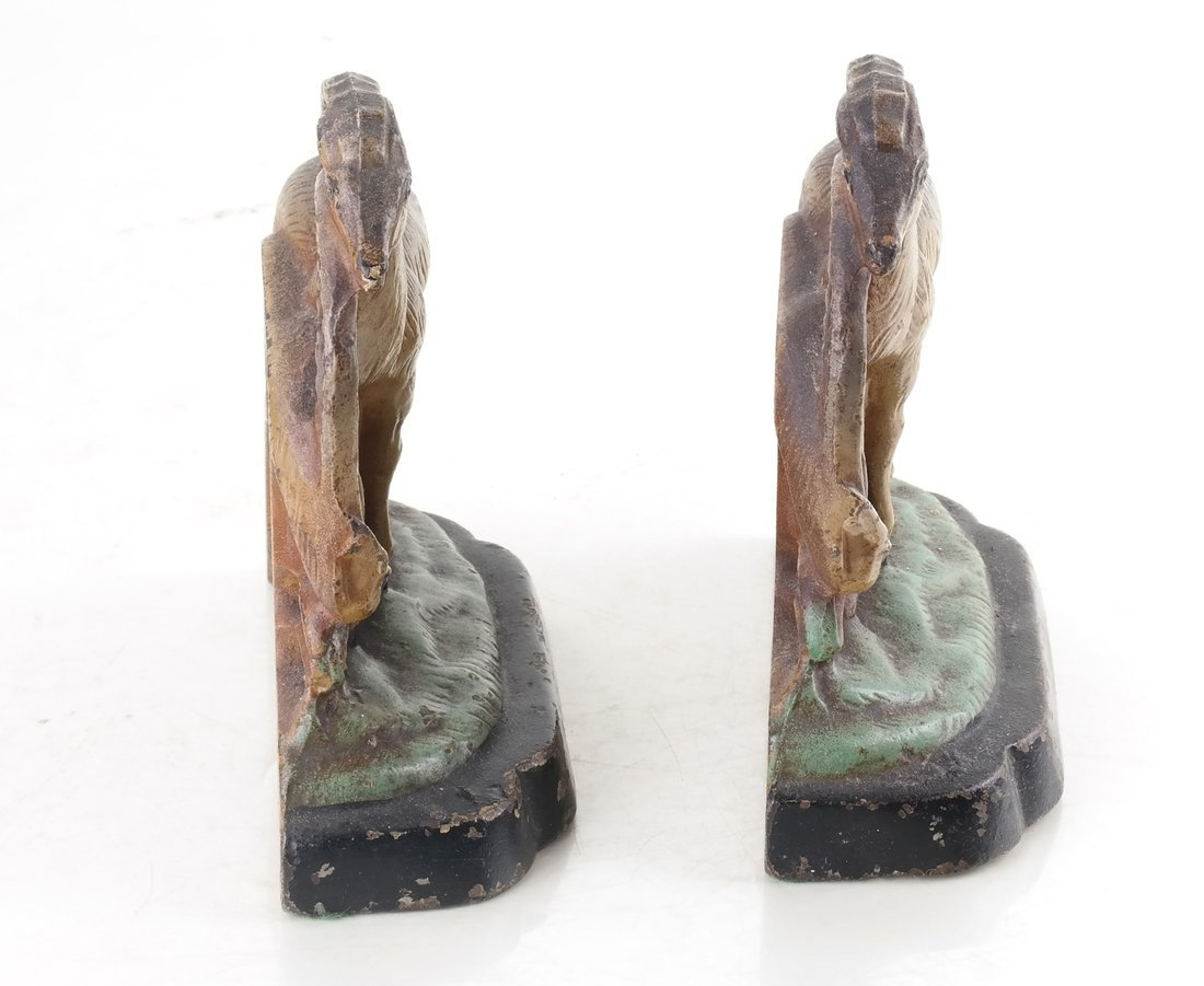 Two Painted Cast Iron Animal Bookends - 4