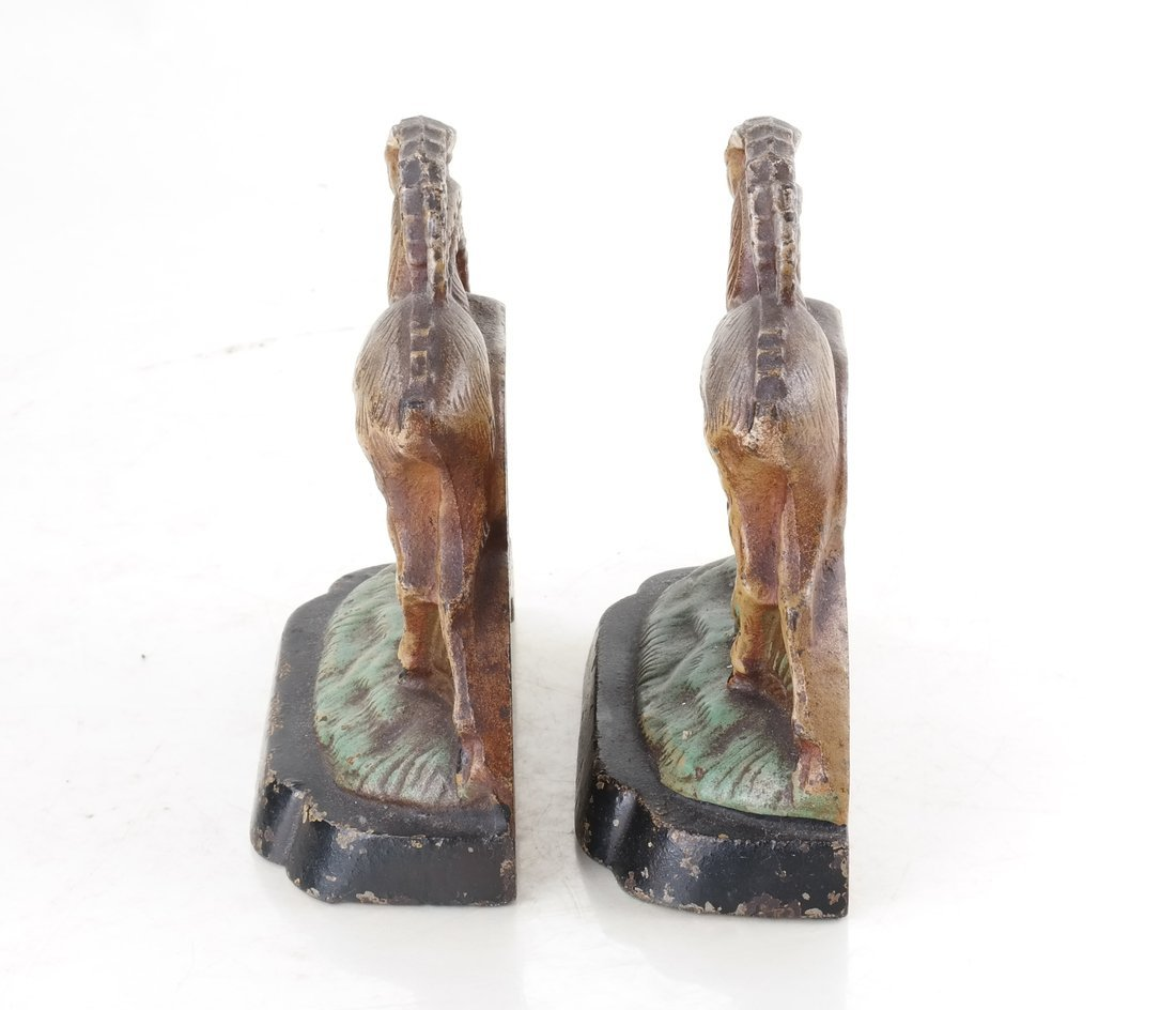 Two Painted Cast Iron Animal Bookends - 5