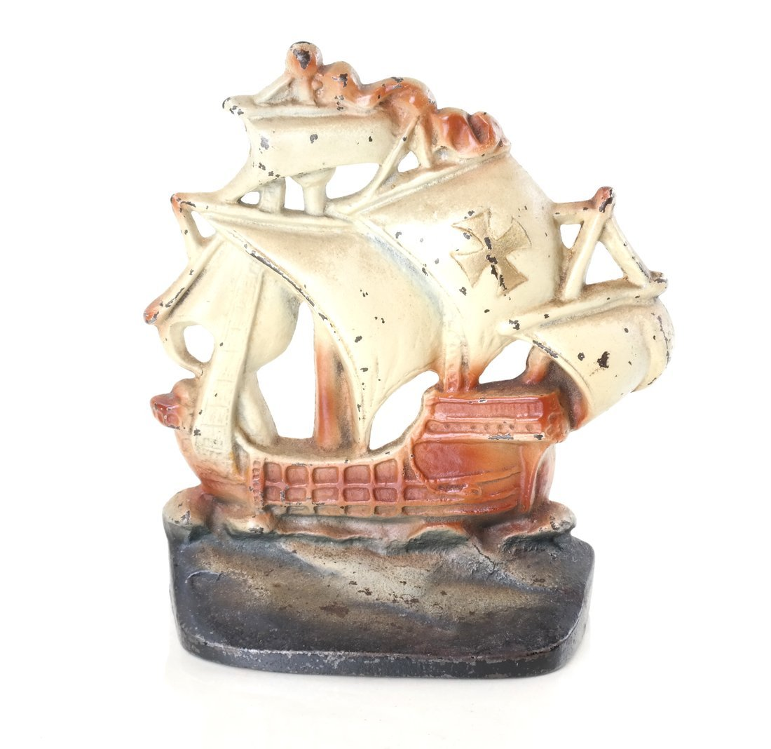 Five Painted Cast Iron Galleon Items - 10