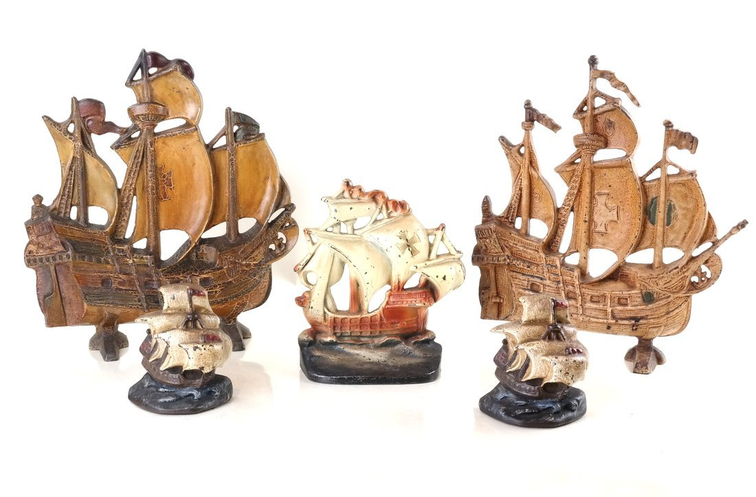 Five Painted Cast Iron Galleon Items