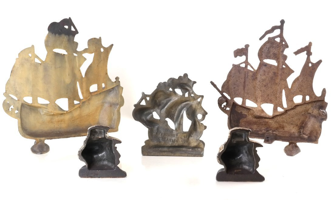 Five Painted Cast Iron Galleon Items - 3