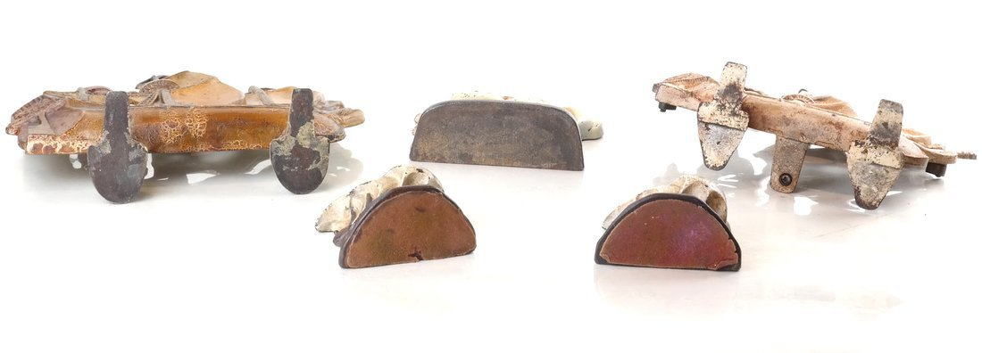 Five Painted Cast Iron Galleon Items - 5