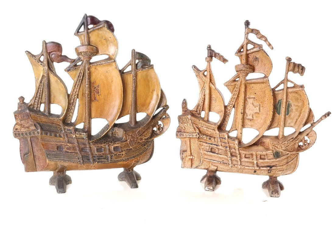 Five Painted Cast Iron Galleon Items - 7