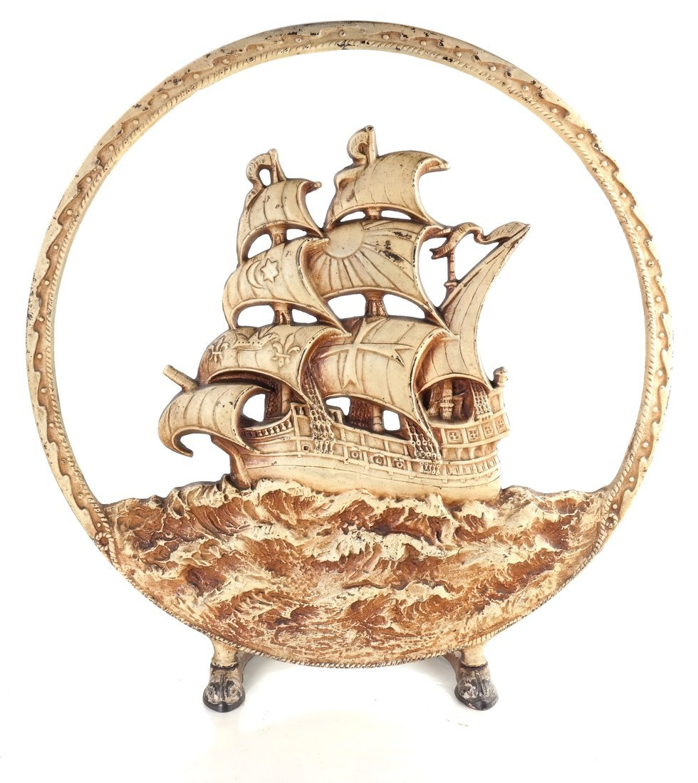 Painted Cast Iron Ship Firescreen