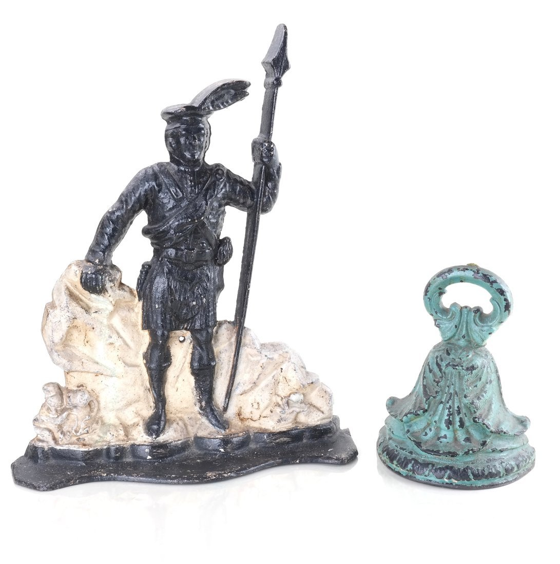 Two Painted Cast Iron Doorstops