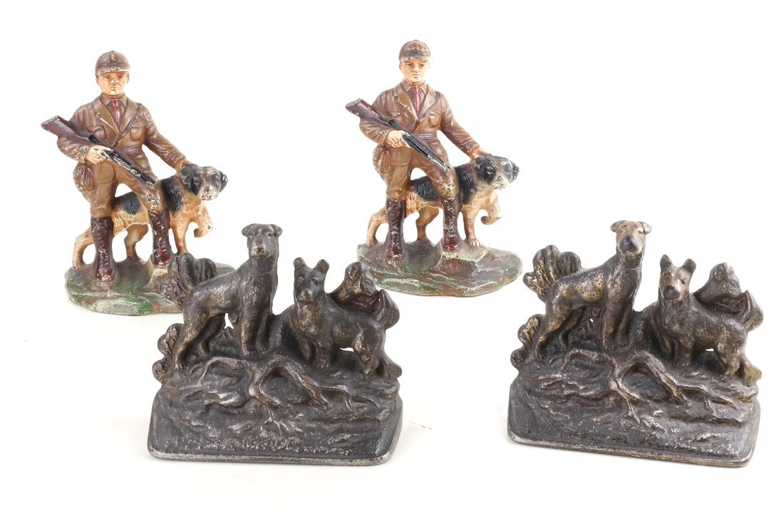Four Cast Iron Figural Bookends