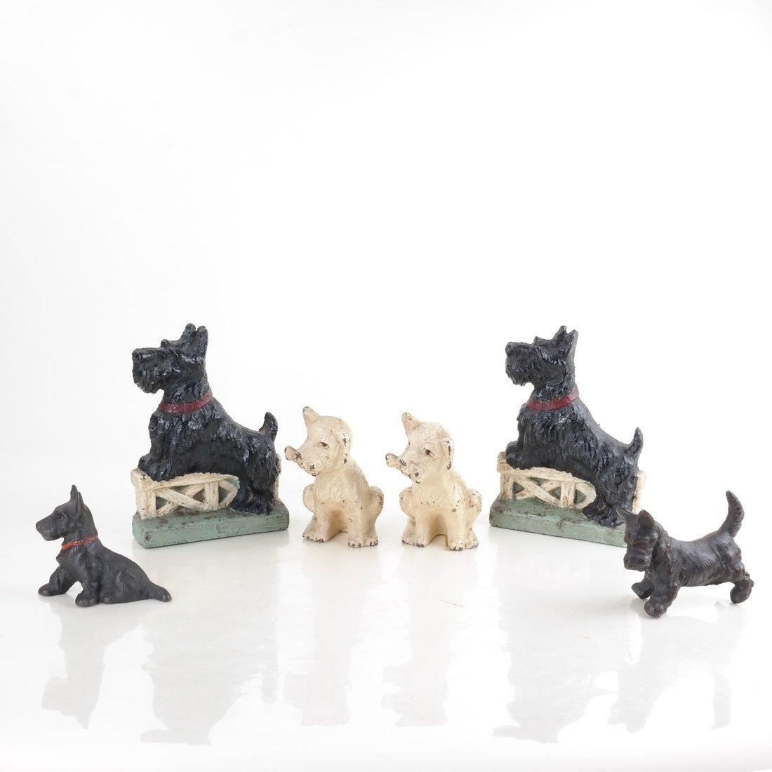 Six Cast Iron Scotties or Terriers