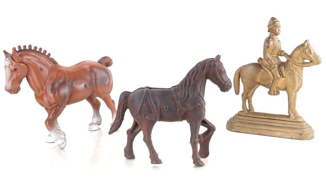 Three Cast Iron Horse Figures