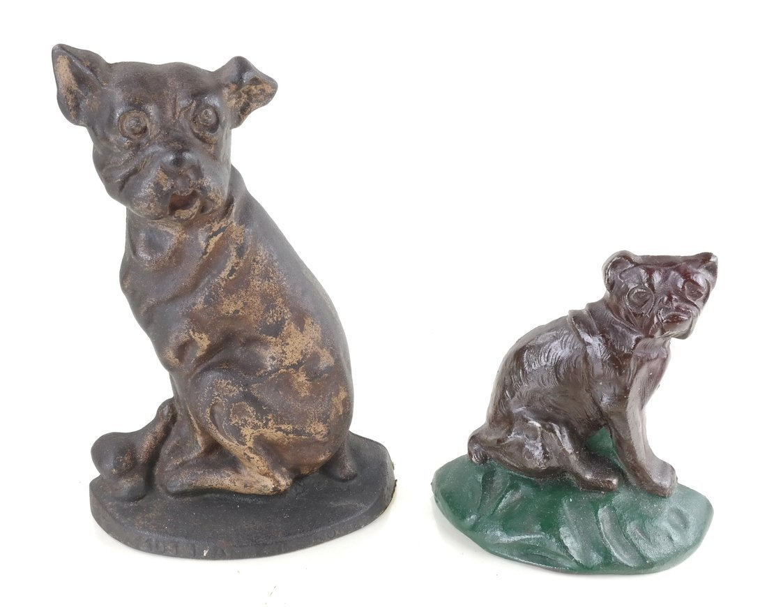 Two Cast Iron Dog Doorstops