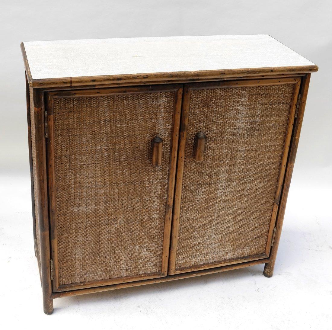 Vintage Bamboo Two-Door Cabinet
