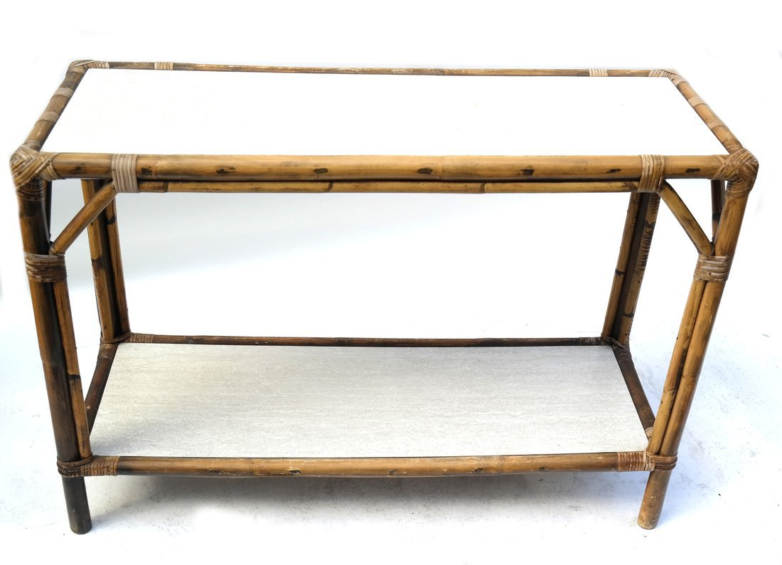 Vintage Bamboo Two-Tier Console