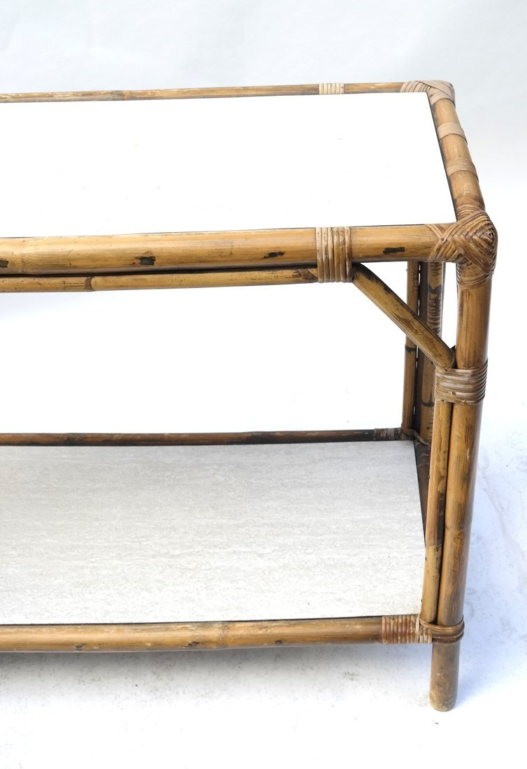 Vintage Bamboo Two-Tier Console - 2