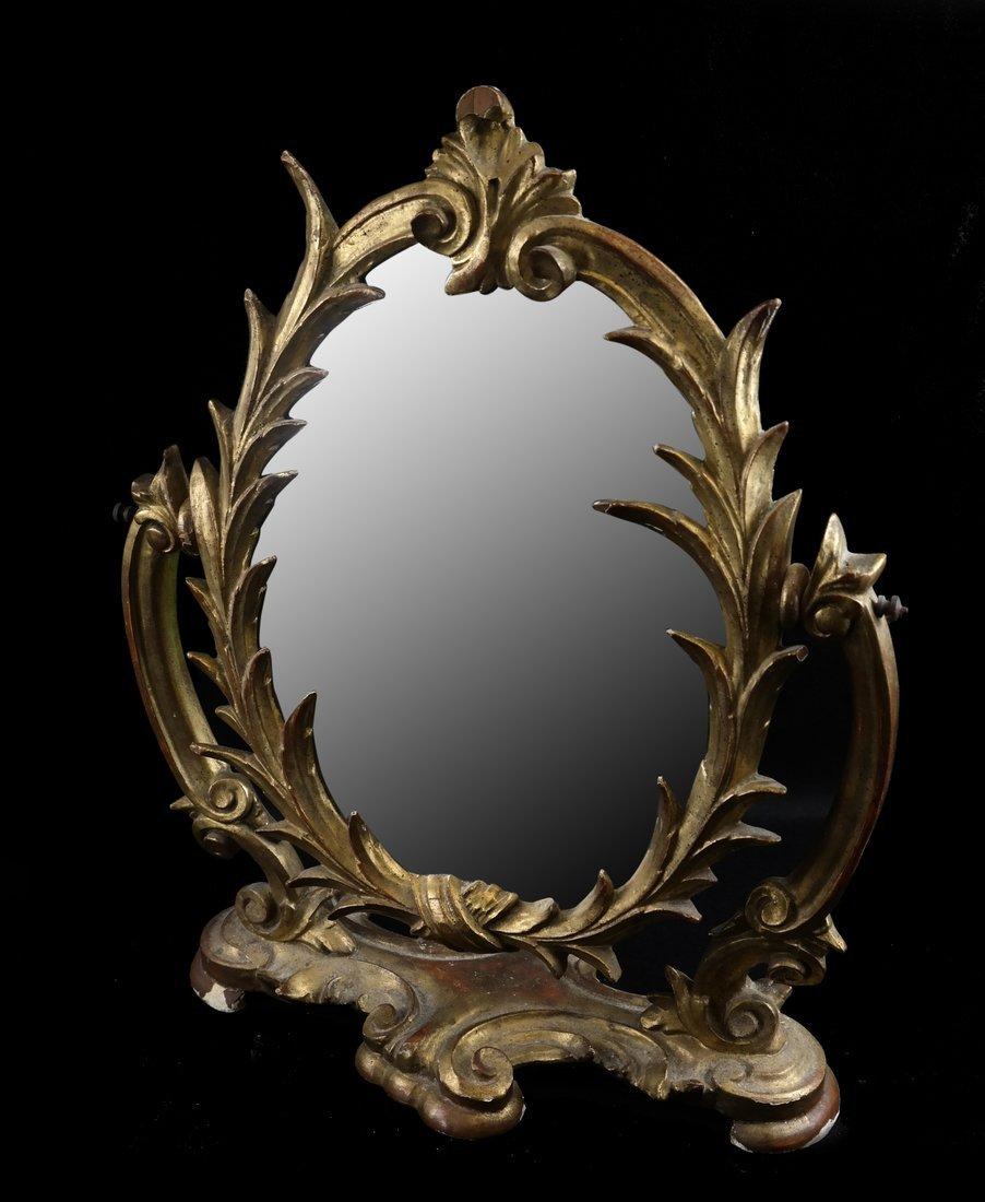 Rococo-Style Giltwood Shaving Mirror