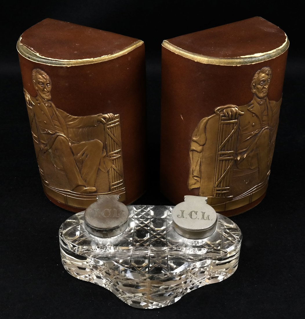 Pair of Bookends, Glass Inkwell
