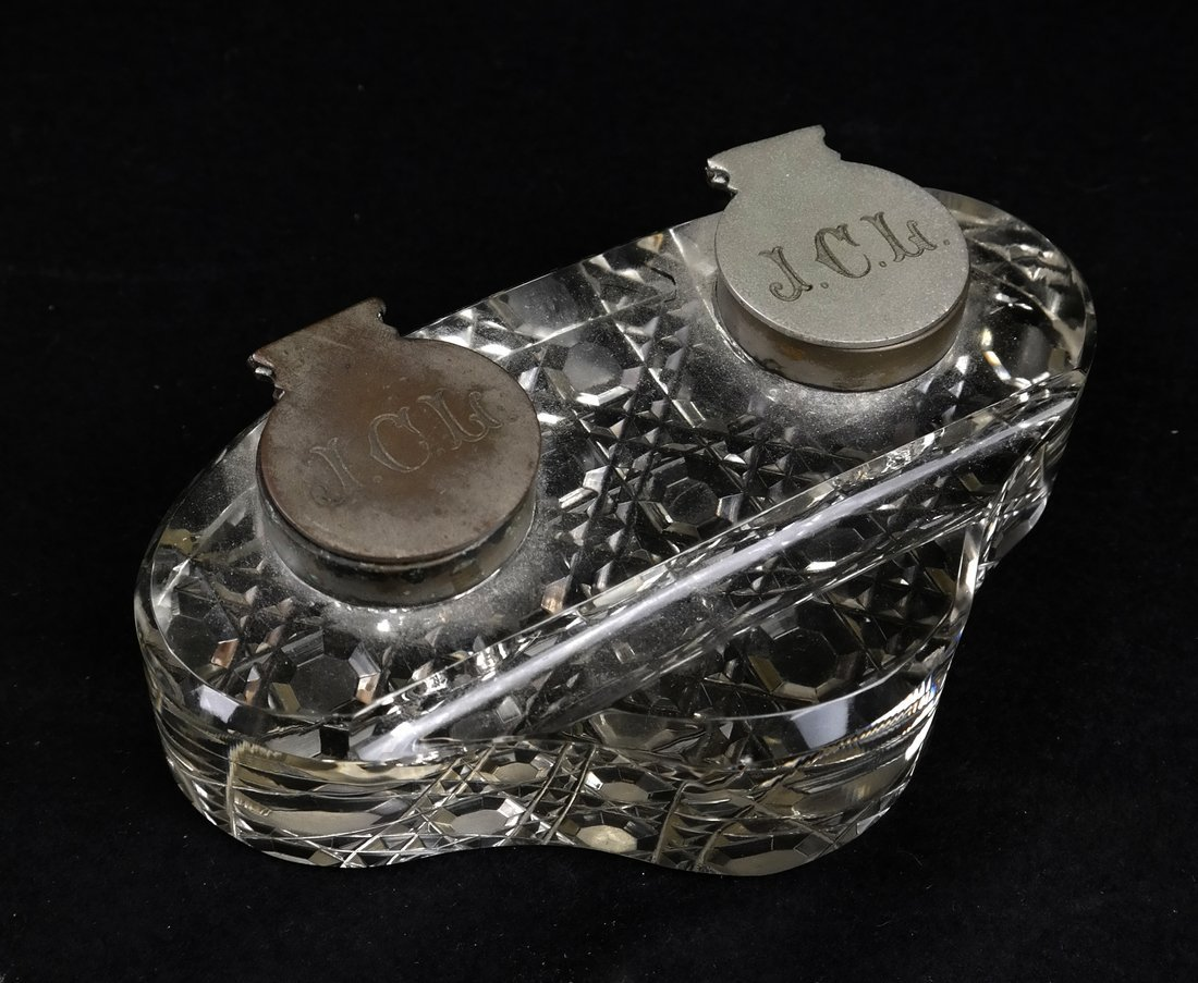Pair of Bookends, Glass Inkwell - 4