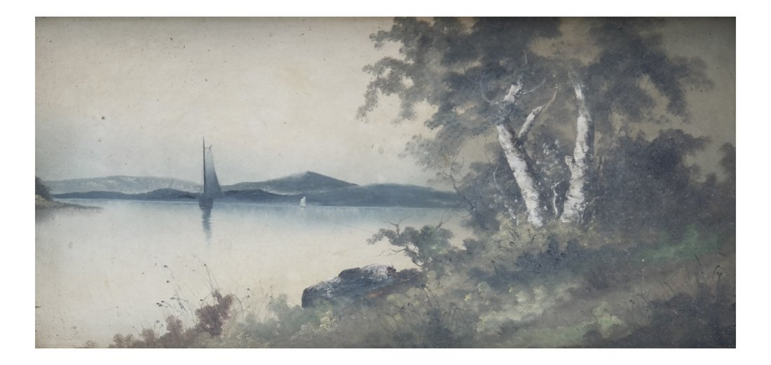 Landscape With Two Boats, Oil on Board