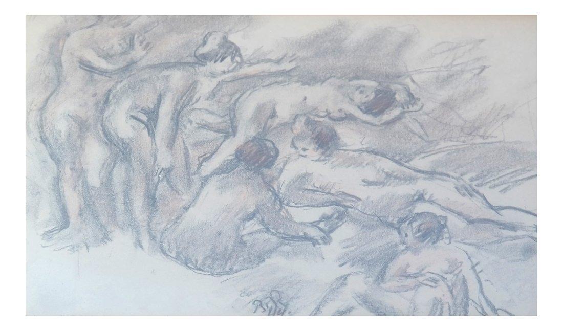 Gathering of Nude Women, Drawing
