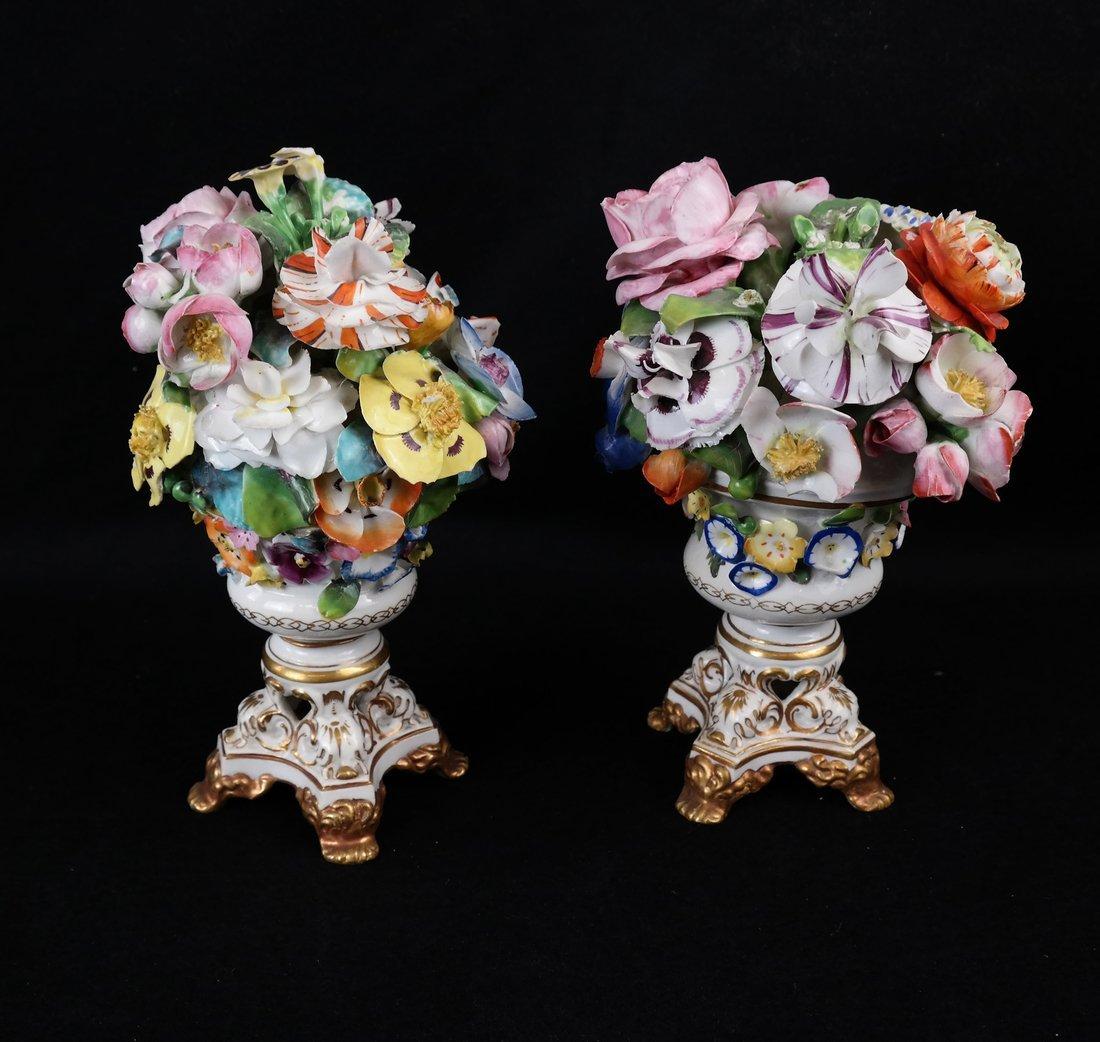 Pair of Crown Derby Floral Urns