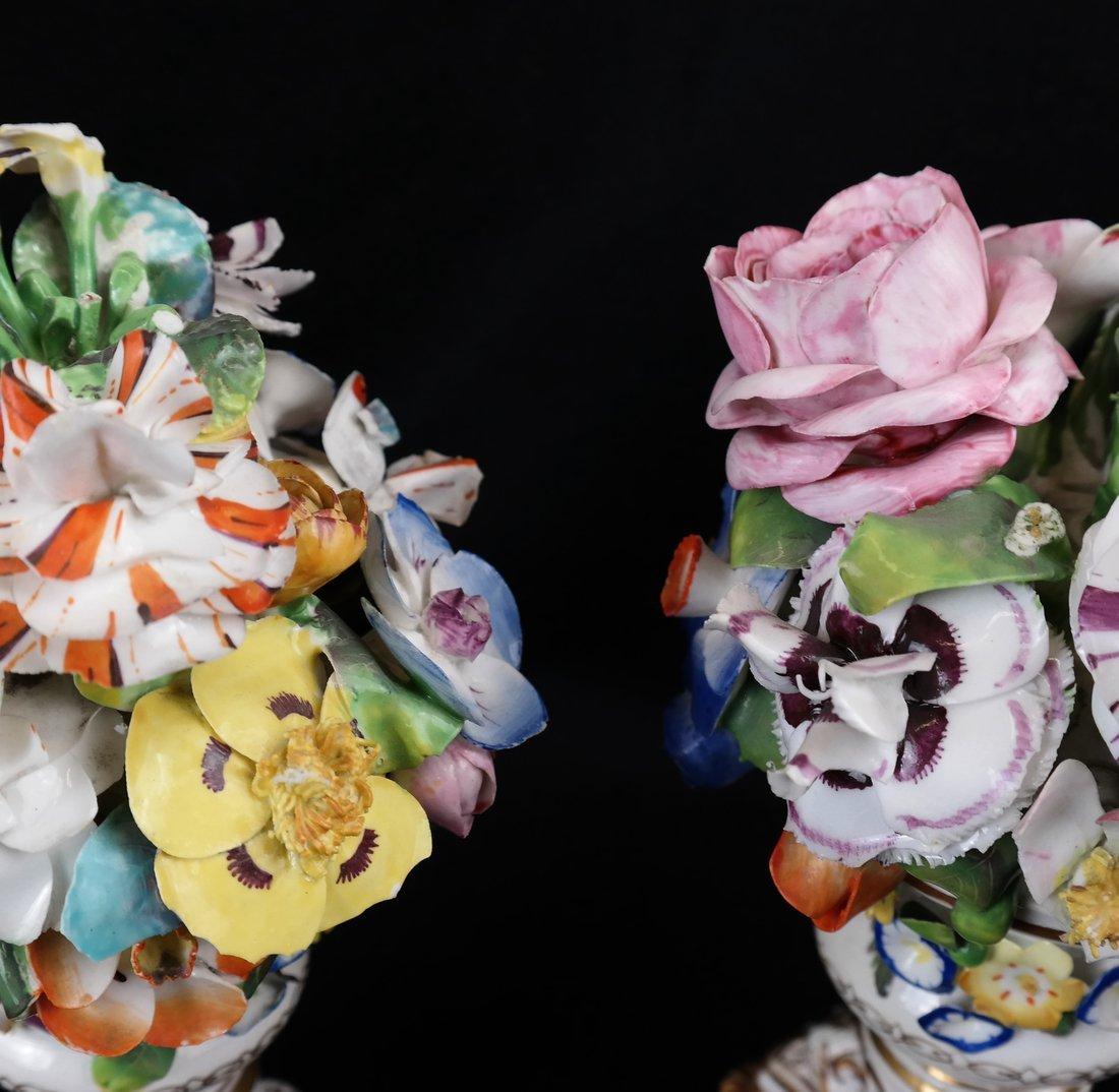 Pair of Crown Derby Floral Urns - 2