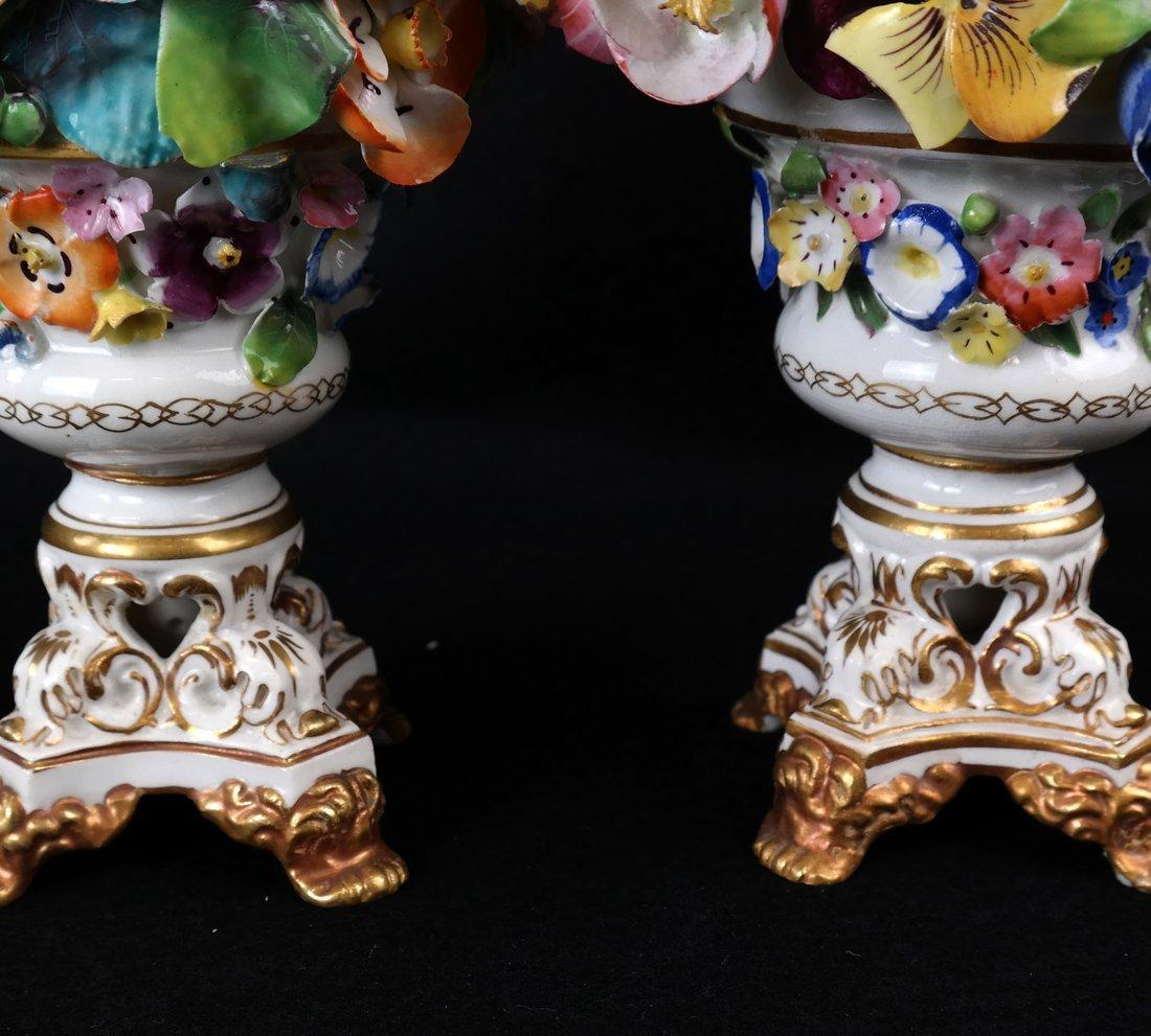 Pair of Crown Derby Floral Urns - 3
