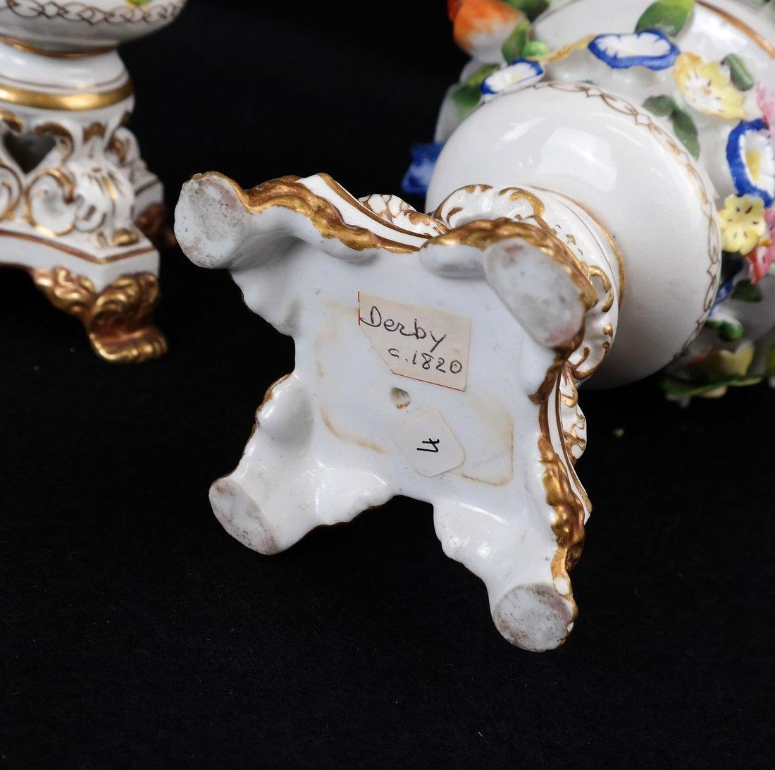 Pair of Crown Derby Floral Urns - 4