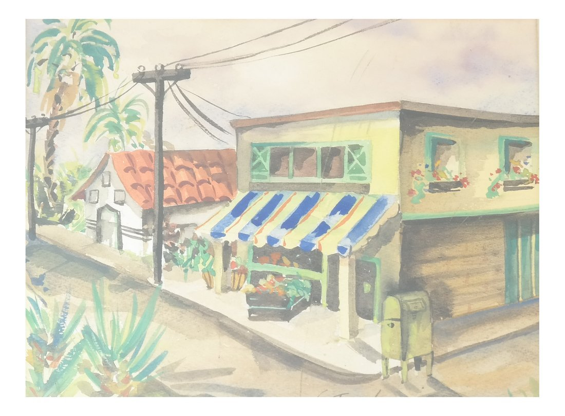 V. Finn, Village Scene, Watercolor