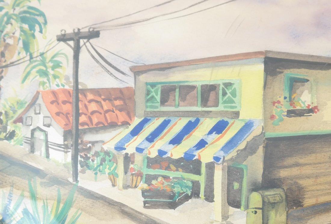 V. Finn, Village Scene, Watercolor - 4
