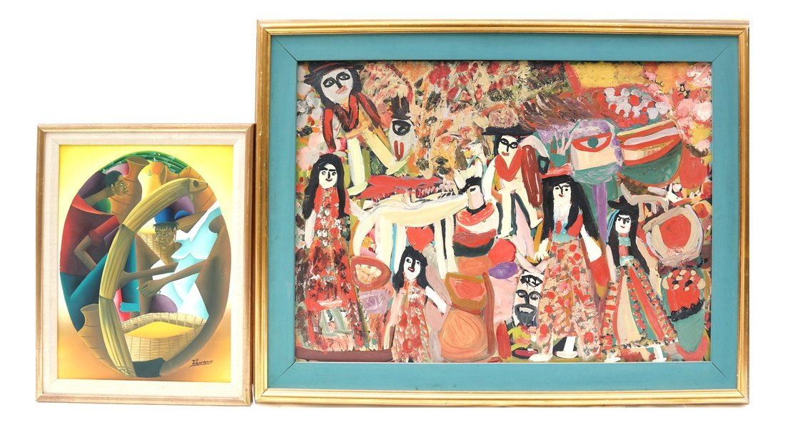 Two Works: Villagers & Two Figures