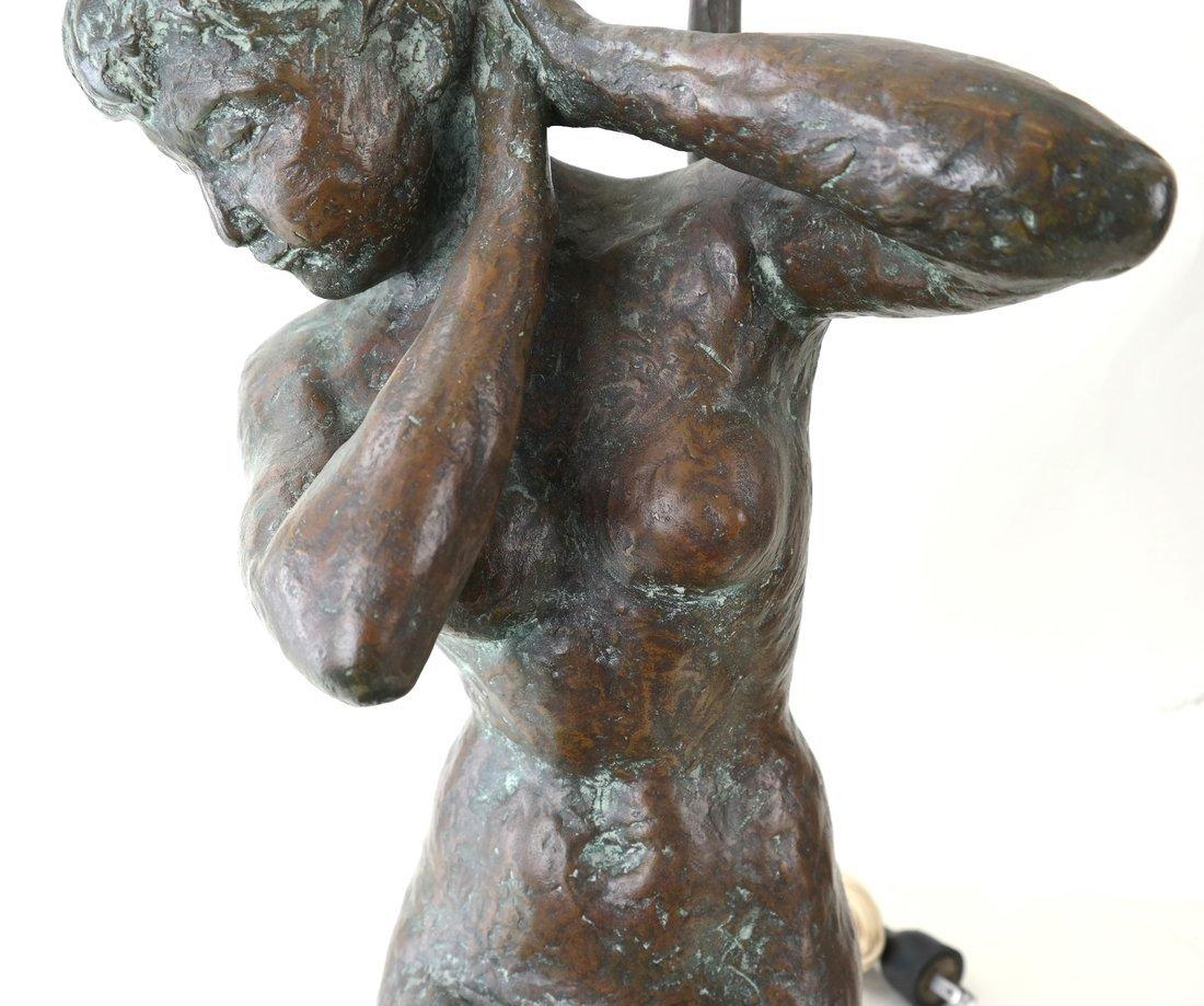 Figural Bronze Lamp - 3
