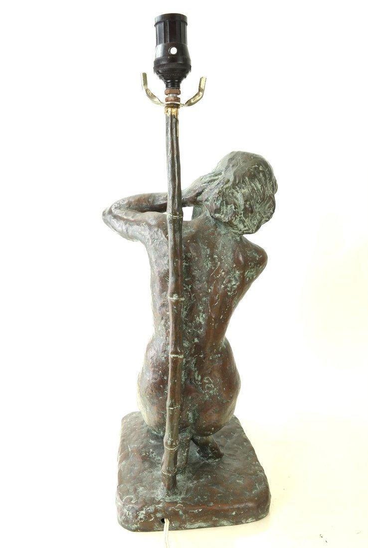 Figural Bronze Lamp - 5