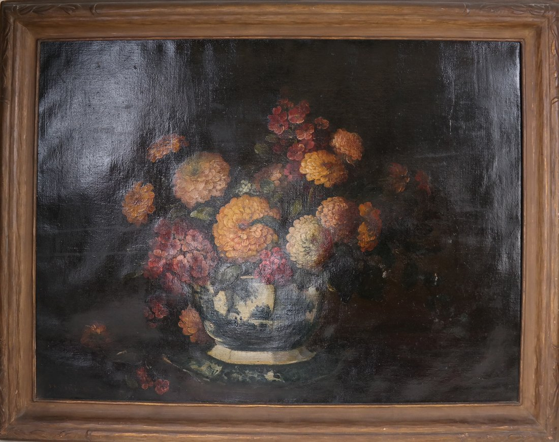19th Cent. Floral Still Life, Oil/Canvas