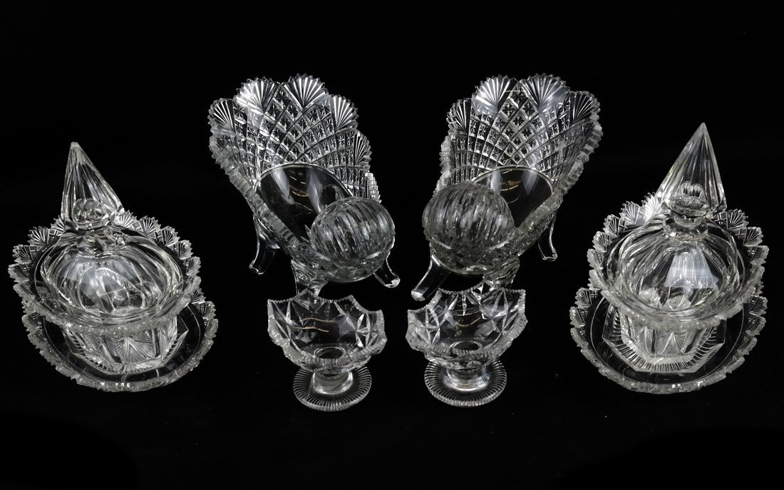 Six Irish Cut Glass Table Articles