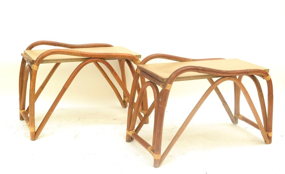 Pair of Rattan Benches - 4
