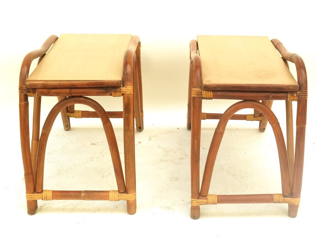 Pair of Rattan Benches - 5