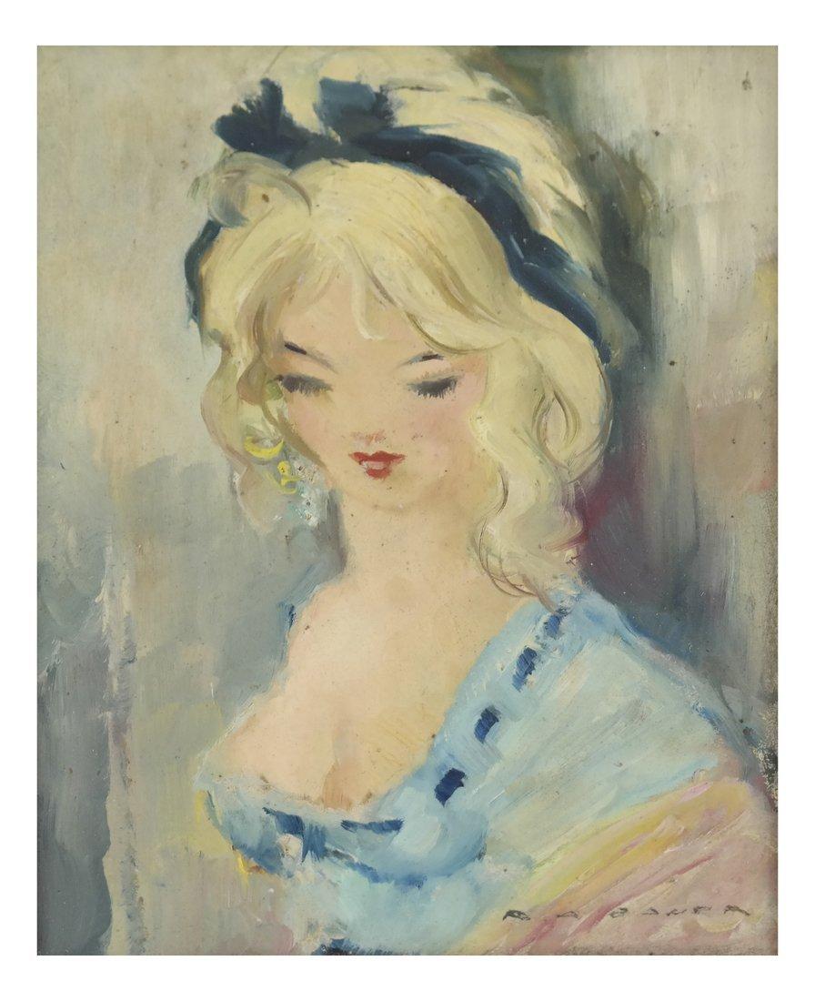 Portrait of a Female, Oil on Carton