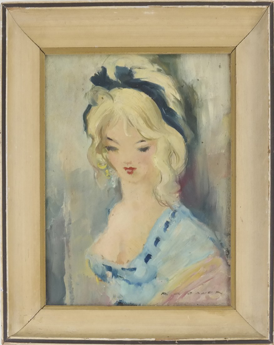 Portrait of a Female, Oil on Carton - 2