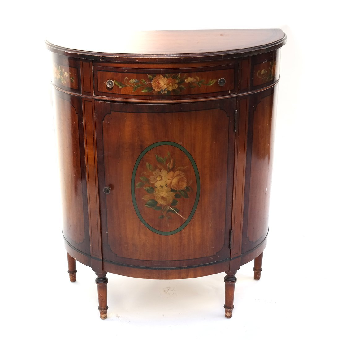 Louis XVI-Style Demilune Cabinet - 2