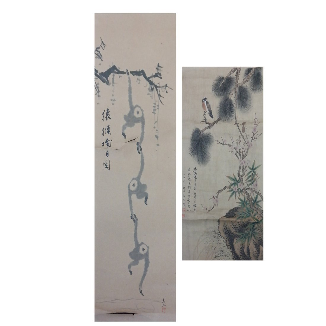 Two Chinese Scrolls on Silk