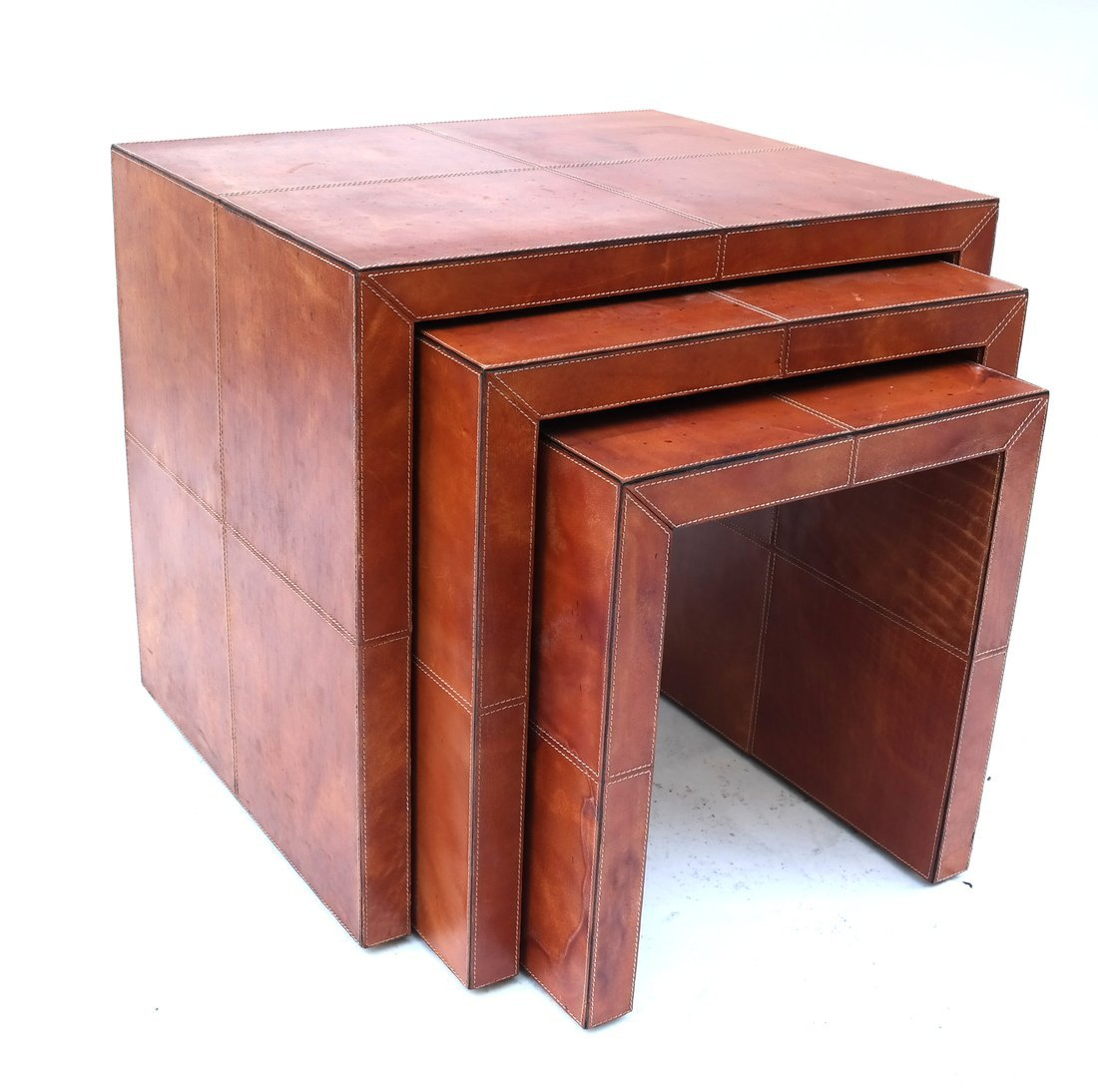 Nest of Three Leather Tables