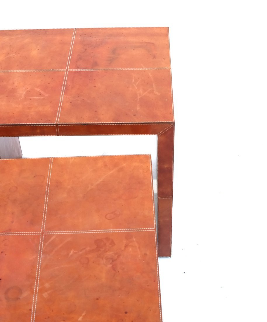 Nest of Three Leather Tables - 5