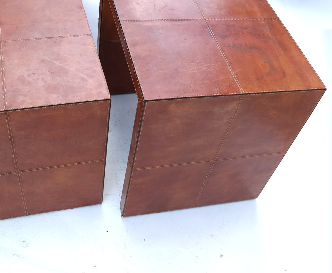 Nest of Three Leather Tables - 8