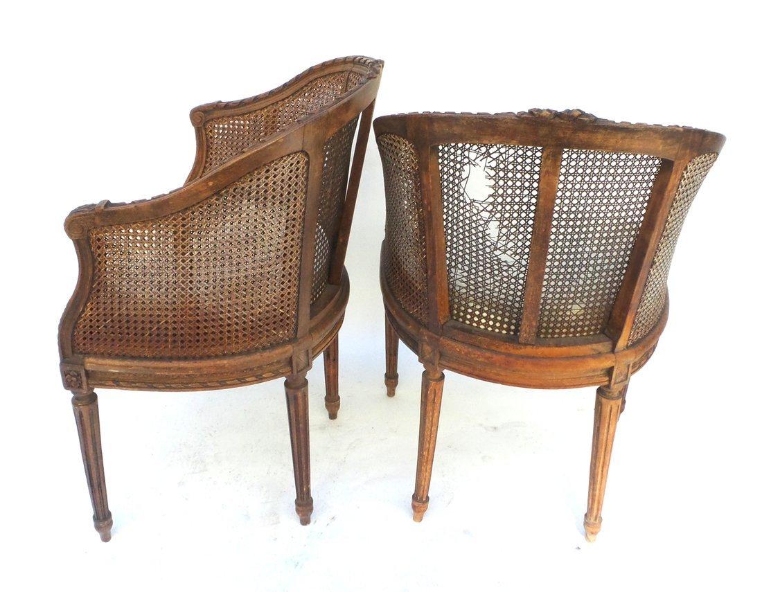 Pair of Louis XVI Style Carved Bergeres - 6