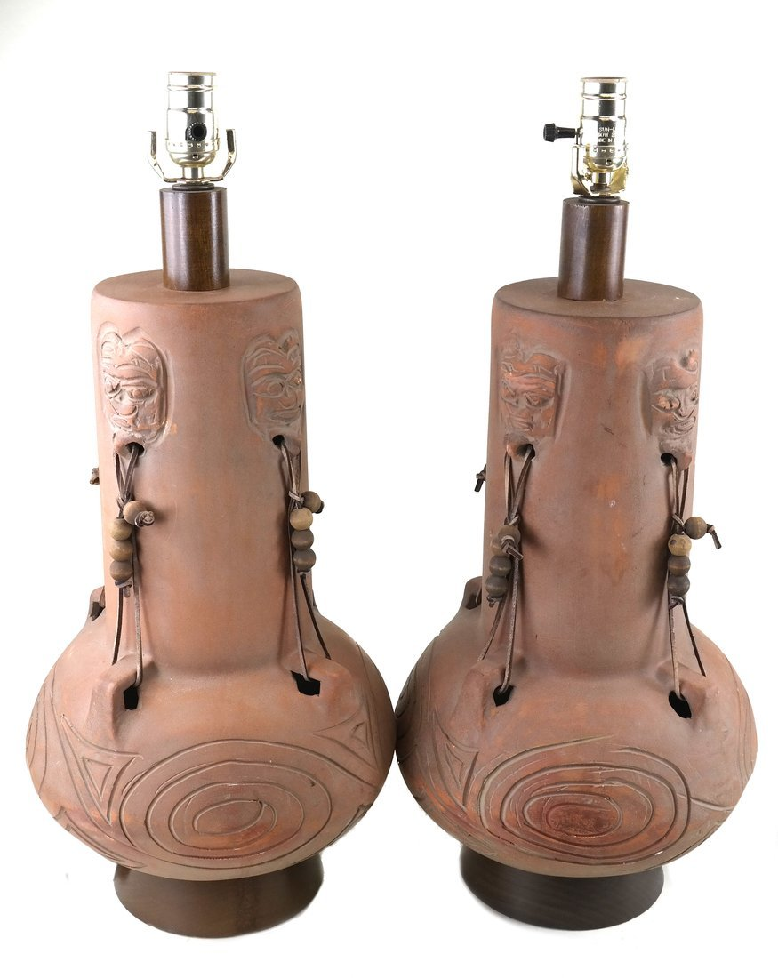 Pair of Decorated Ceramic Lamps