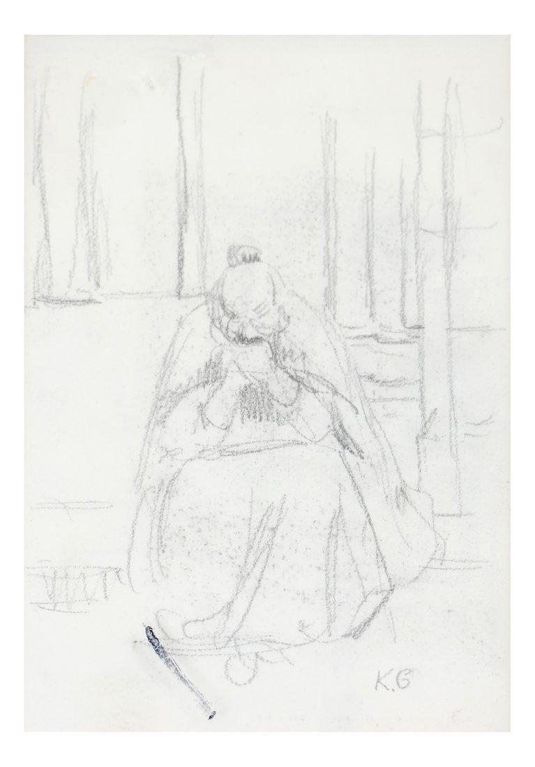 Kate Greenaway, Seated Woman, Drawing